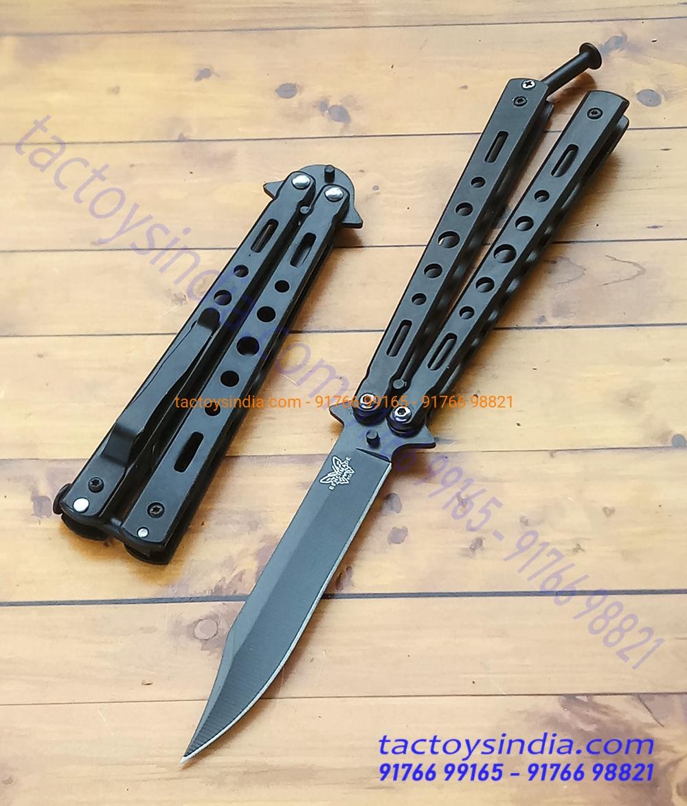Benchmade Matt Black Oxide Coated Razor Sharp Flipping Butterfly Balisong  Knife Clip Point Tip