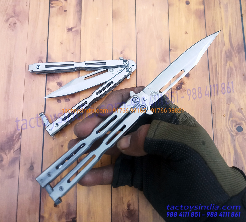 Benchmade Balisong 961 Silver Razor Sharp Butterfly Knife