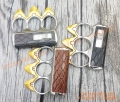 knuckle Duster with Cigarette Lighter yellow Flame 3 Fingered Deluxe Faux Leather Finished