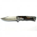 Columbia A3157 lock-back folding knife with black-brown stone inlay handle