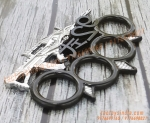 92 Dragon Inspired Assault Rifle  Black And Silver Colour Spiked Melee Knuckle Duster Punch