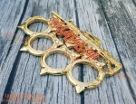 M4A1 Rifle Bright Gold Coloured Modern Knuckle Duster with 4 Spikes tactoysindia.com