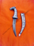 17 cm Horse face handle dagger Damascus blade with Silver wire work koftgari traditional design handmade in India rajputana khanjar