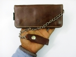 Luxury Brown Handmade Mens Bi-fold Tan Biker Raw 100% genuine Leather Trucker wallet with Detachable Chain and Belt loop purse