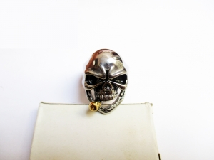 Mens Stainless Steel Tribal Skull Ring with gold Cigar and Black Eye Biker Jewelry Cool Accessories exclusive harley davidson royalenfield branded