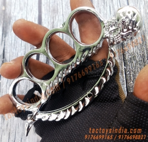 Chrome Skull Spine Knucks Skull Breaker / Piercer Large Size Rings Army Fight Punch