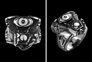 316L Stainless Steel Silver Engine Biker Ring Mens Motorcycle Engine Biker Ring Cool