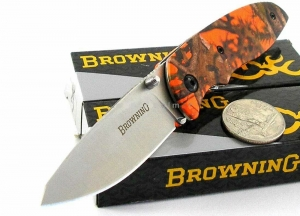 Browning EDC Every Day Camo BLAZE ORANGE CAMO Small Pocket Folder Knife 0251