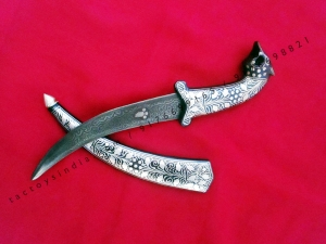 24 cm Fox face handle dagger Damascus blade with Silver wire work koftgari traditional design handmade in India rajputana khanjar