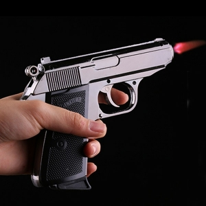 Windproof Metal 64 Model PPK Pistol Gun Shaped Refillable Butane Gas Flame Jet Smoking Cigarette Cigar Lighters