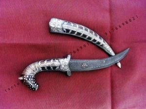 32 cm Camel face shaped handle dagger Damascus blade with Silver wire work koftgari traditional design handmade in India rajputana khanjar
