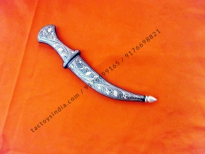 16.5 cm Mughal Jambiah dagger Damascus blade with Silver wire work koftgari traditional design handmade in India rajputana khanjar