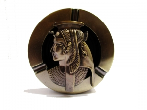 Vintage resin & metal ashtray male portable Round ashtray Copper Egyptian Lady top turned 360 degree