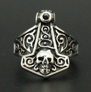 Cool Design Biker Thor Hammer Skull Ring With Black 316L Stainless Steel Men Boys Polishing Biker Ring