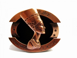 Vintage resin & metal ashtray male portable Oval ashtray Copper egyptian lady top turned 360 degree
