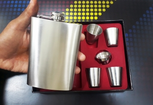 6pc Gift Set Stainless Steel Chrome Hip flask Whiskey Bottle Pocket Wine Bottle
