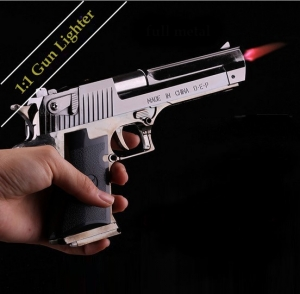 Desert Eagle .44 pistol Cigarette lighter metal 1:1 size model / Jetflame / Refillable