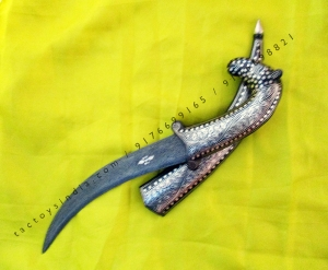 37 cm Camel face shaped handle dagger Damascus blade with Silver wire work koftgari traditional design handmade in India rajputana khanjar