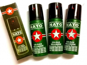 American style NATO CS gas pepper spray self-defence 60 ml pocket pack