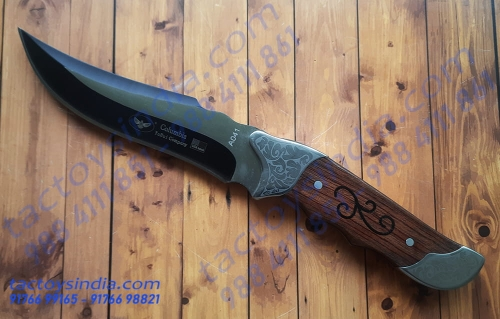 Columbia A041 USA saber classic hard wood Handle knife by Tactoysindia engraved Hunter's special knife - semi black oxide blade